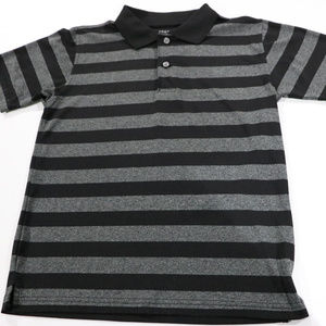 George Shirts & Tops - Black & Grey Stripe Polo in Boys 10/12 Polyester